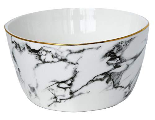 LA VITA VIVA 4er Set 400ml Salatschalen Snackschalen Dessertschalen Müslischalen Keramik Marmordesign Ø12cm mit Goldrand