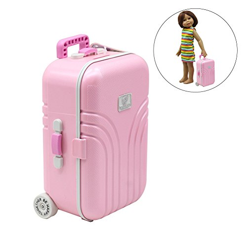 Meetgre Fashion Doll Suitcase Doll Dress Storage Case Toys Cute Exquisite Mini Trunk Luggage Carrier Boot For Girl & Boy Doll, Sliver/Pink