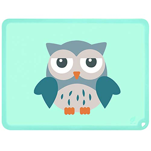 Silicone Placemats, Table Mats, Kids Placemats, Non-Slip, Washable, Heat Resistant, Spill Proof, Foldable for Dining Tables,(Owl, Baby Green)