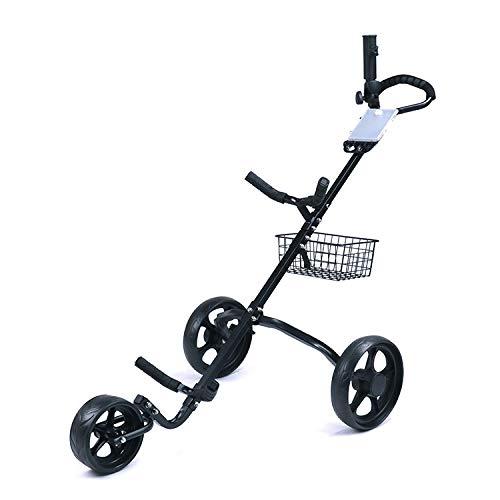 DWXN Carros de Golf con 3 Ruedas Trolley Golf Negro Hierro Carro Golf