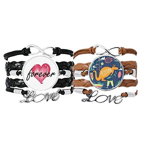 Bestchong Melbourne Australia Kangaroo Tennis Surfing Pulsera de mano Correa de cuero Forever Love Wristband Set doble