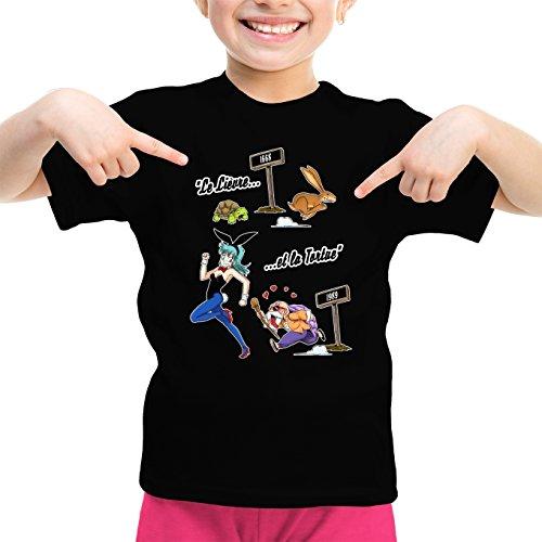 Okiwoki T-Shirt Enfant Fille Noir Dragon Ball parodique Tortue Géniale et Bulma : De La Fontaine à Toriyama. (Parodie Dragon Ball)