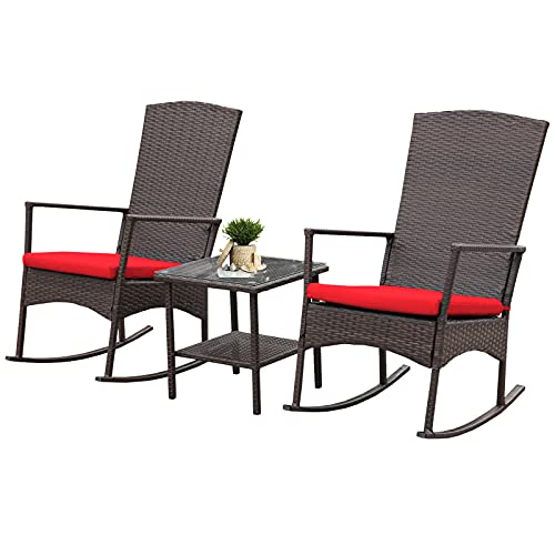 Rattaner Outdoor 3-Piece Wicker Rocking Chair Set Patio Bistro Set Conversation Furniture 2 Rocker Chair and Glass Coffee Side Table Mix Brown Rattan Red Cushion