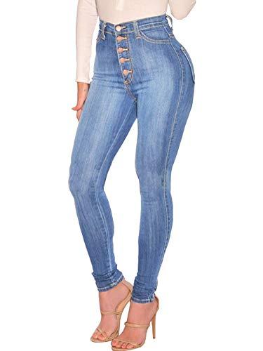 Tomwell Cintura Alta Pantalones Jeans Mujer Elástico Flacos
