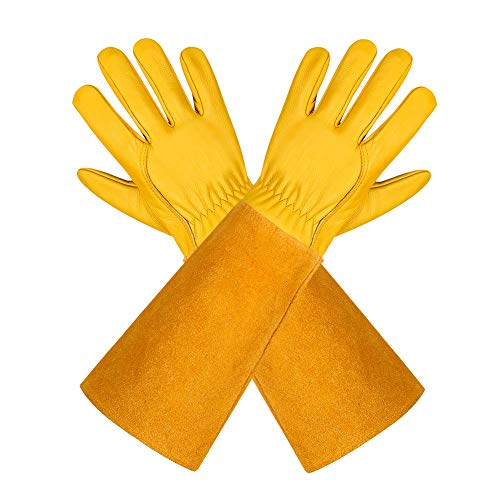 isilila Gartenhandschuhe aus Leder für Damen und Herren atmungsaktive Rosen-Handschuhe mit Dornschutzhandschuh, Lange Rindslederärmel, Gartenarbeitshandschuhe für Gärtner und Bauern, gelb