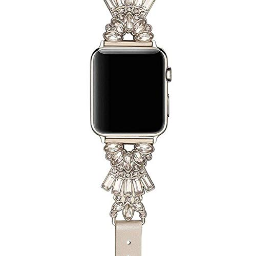 WZHC La Moda Compatible con 44mm Pulseras de Reloj de Manzana 38 mm 40 mm 42 mm, Correa de reemplazo de Diamante Compatible for iWatch Serie 5/4/3/2/1 Antideslizante (Farbe : Pink Gold 44mm)
