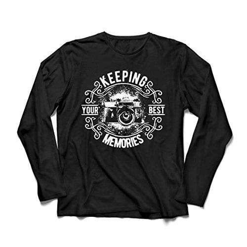 lepni.me Camiseta de Manga Larga para Hombre Cámara del fotógrafo, Foto - manteniendo Sus Mejores Recuerdos, Amante de la fotografía (Small Negro Multicolor)