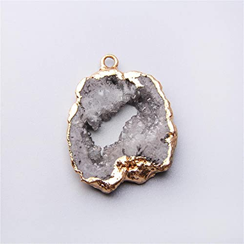 JSJJATQ Cuentas de Piedras Cristal Gris druzzy Cuarzo Natural Gris Collar Colgante Colgante Oro Regalo Druzy DIY (Main Stone Color : Gray)