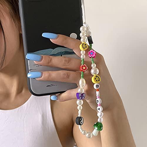 Colgante de Mano para Móvil Phone Charm Beaded Teléfono Correa Accesorios de Moda con Cuentas Correa Teléfono y Dispositivos Digitales Cordón Anticaídas con flores caras sonrientes para teléfono móvil