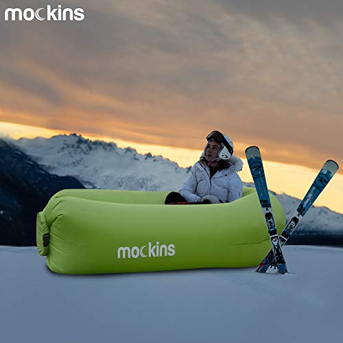 Mockins 2 Pack Inflatable Lounger Air Sofa Perfect for Beach Chair Camping Chairs or Portable Hammock and Includes Travel Bag Pouch and Pockets | Easy to Use Camping Accessories -Blue and Green Color