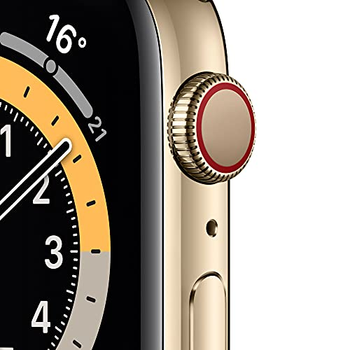 AppleWatch Series6 (GPS+ Cellular, 44mm) - Edelstahlgehäuse Gold, Sportarmband Dunkelmarine