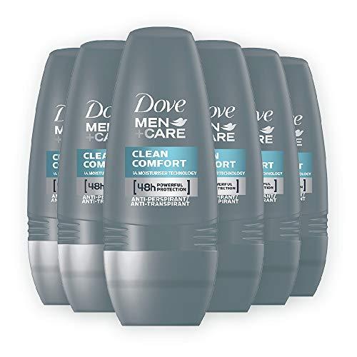 Dove Men+Care Clean Comfort Roll-On 50 ml, Confezione da 6 Pezzi