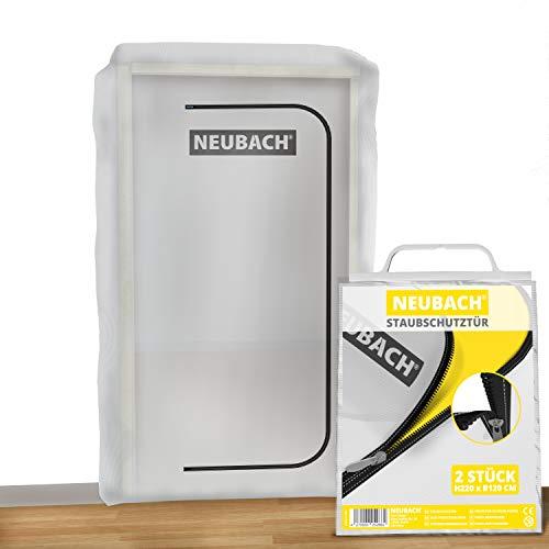 NEUBACH® Staubschutztür mit Reißverschluss [2 Stück] - Dichte Bautür für staubfreies Renovieren und Arbeiten - Staubschutztür aus Vlies ohne Wärmestau