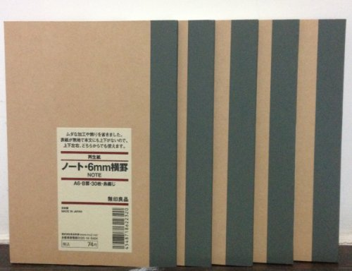 MUJI Notebook A6 6mm Ruled 30sheets -books by Muji