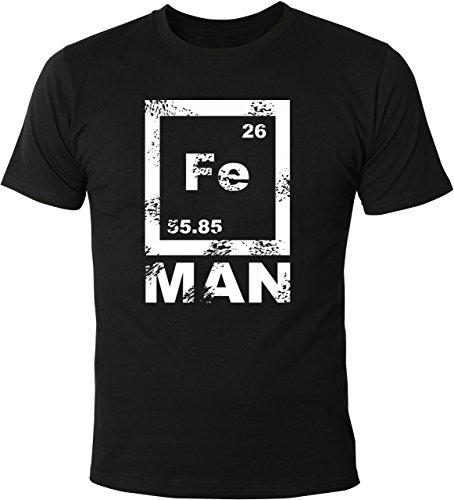 Mister Merchandise Witziges Herren Männer T-Shirt FE Man Iron Ironman Chemie Periodentafel Nerd, Größe: L, Farbe: Schwarz