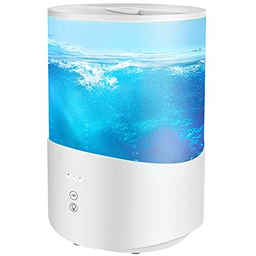 Ultraschall Luftbefeuchter, 2.5L Top-Füllung Humidifier mit 7 Farben LED, Leise Aroma-Diffusor für Kinderzimmer, Luftbefeuchter Schlafzimmer, BPA-Frei, Schlafmodus, Auto-Abschaltung-Weiß