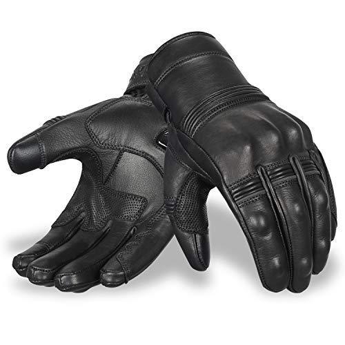 Motorradhandschuhe | Oro Biker Premium Leder Motorrad Handschuhe Touchscreen Knöchelschutz Vollfinger Racing Reithandschuhe (Schwarz, Medium)
