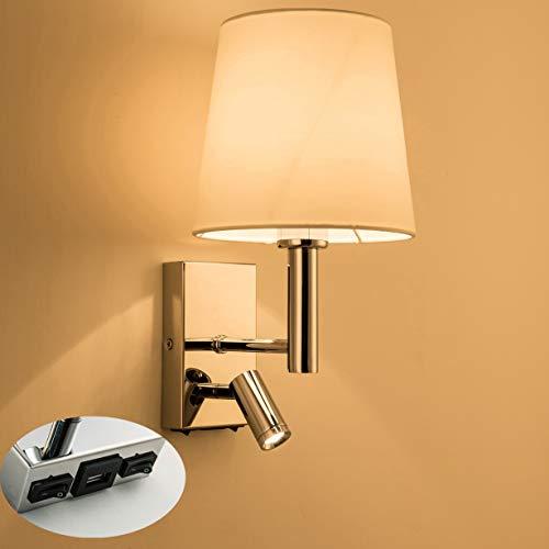 HARPER LIVING 1 luz de lectura LED ajustable de pared hacia abajo, 1 puerto USB y 2 interruptores de encendido/apagado, acabado, tela (pantalla cilíndrica), metal, cromo pulido y blanco