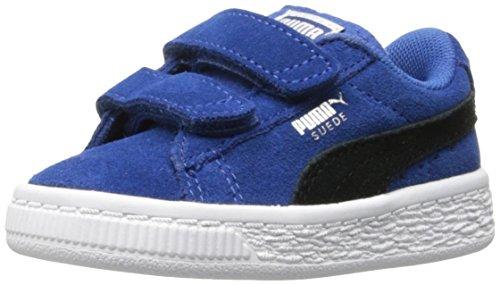 PUMA Unisex-Baby Suede Classic Hook and Loop Sneaker, True Blue Black, 4 M US Toddler