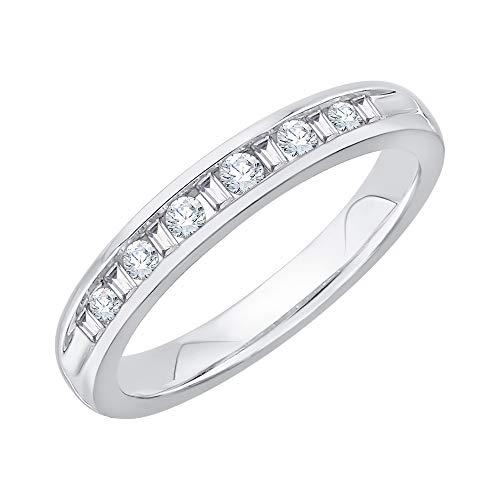KATARINA Alianza de boda de diamantes de talla redonda y baguette en plata de ley (1/4 cttw, J-K, SI2-I1)