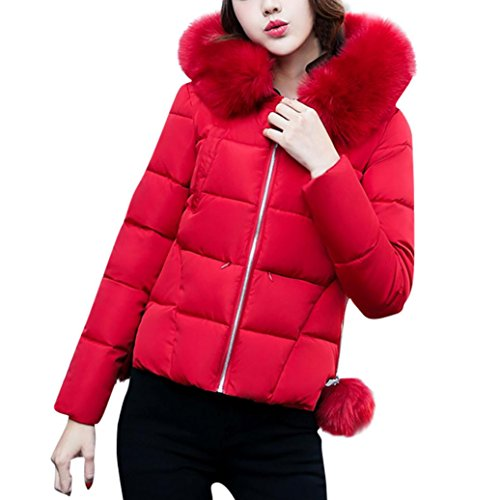 Wintermantel damen Kolylong® Frauen Herbst Winter Warm Mantel mit Kapuze Elegant Dicker Jacke kurz Locker Oversize Parka Outwear Mode Daunenjacke Strickjacke Blazer Kapuzenpullover (Rot, XL)