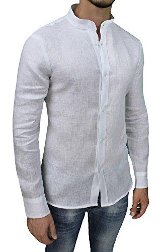 Camicia Uomo Sartoriale 100% Puro Lino Slim Fit Bianco Casual Elegante (L)