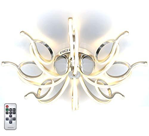 Dimmbar XXL LED Deckenlampe Deckenleuchte Kronleuchter Wohnzimmer Warmweiß Luxus Design Lüster Spirale Form 8 Arme Modern 84cm Lewima Inflexum