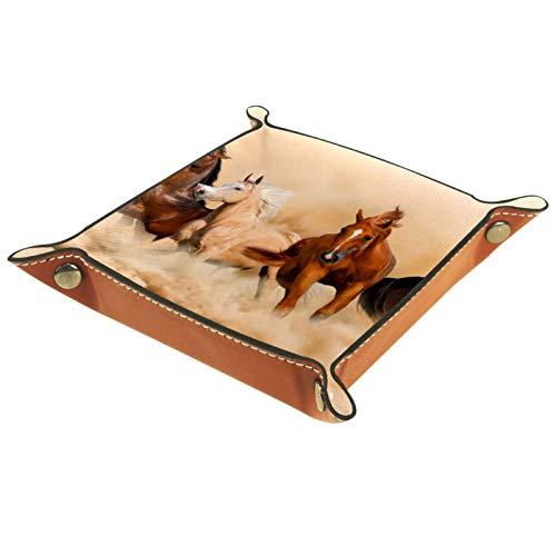 Tablett Leder,Pferde, die im Sandsturm laufen,Leder Münzen Tablettschlüssel für Schmuck,Telefon,Uhren,Süßigkeiten,Catchall-Tablett für Männer & Frauen Großes Geschenk