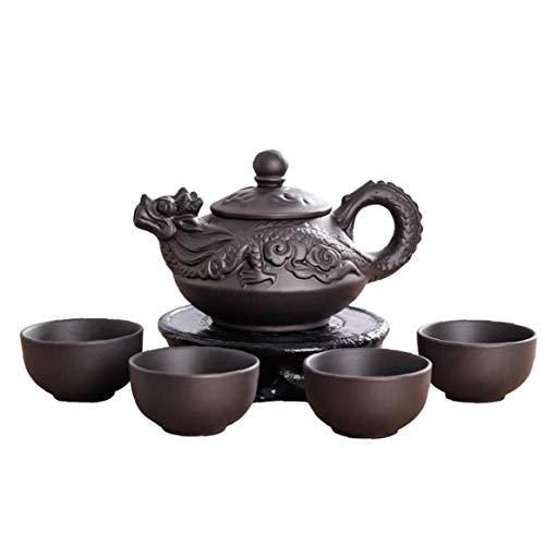 LAVALINK 1 Juego del Dragon Tetera De Ceramica De Arcilla Purpura Establece Juego De Te 1 Tetera Y 4 Tazas Hechas a Mano Zisha Conjunto