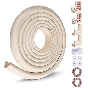 Opret Kit de Protector para Esquinas y Bordes para Bebés y Niños, 8 Cantos Protectores y 1 Rollo para Mesa Muebles, 1 Tope Puerta, Kit de Seguridad con Adhesivo de 3M (Beige)
