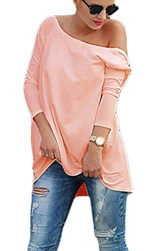 Damen Tunika Bluse Longshirt Top Ausschnitt Hinten S M L (301) (Puderrosa)