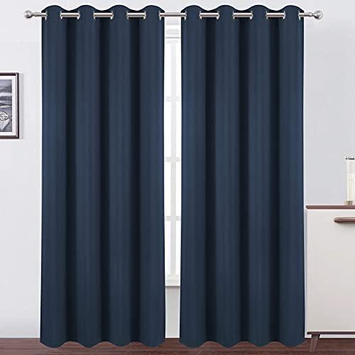 LEMOMO Navy Blue Blackout Curtains 52 x 84 inch/Set of 2 Curtain Panels Room Darkening Bedroom Curtains