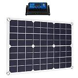 PETSOLA Kit de Panel Solar Flexible para Caravana, Barco, Camping, Coche 50W 10A 12V 24V