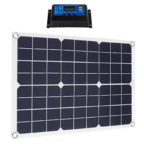 SM SunniMix 50 Watt Solarpanel Solarmodul Ladegerät + 10A 12V/24V Solarladeregler mit 2 USB-Anschlüsse für Wohnwagen, Boot, Auto, Wohnmobil, Gartenhaus, usw.