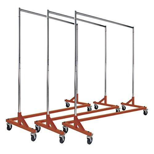 Econoco Commercial Garment Rack Z Rack - Rolling Clothes Rack Commercial Grade Clothing Rack Heavy Duty Chrome Commercial Garment Rack - Orange 3