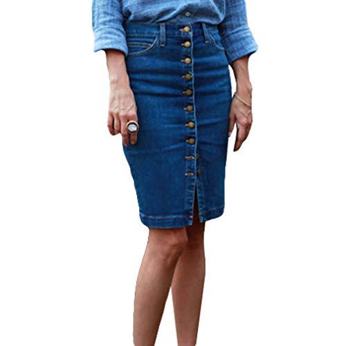 Damen Knielangen Denim Holiday Casual A-Linie Hemd Mit Knopfleiste Bodycon Minikleid Jeansrock Blau M