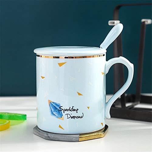 DISCOUNTL Becher, Kaffee zum Mitnehmen Becher, süße Keramik Tasse Haushalt Paar Kaffeetasse Tee kreative Zeichnung Gold Frühstück Hafer Milch Tasse