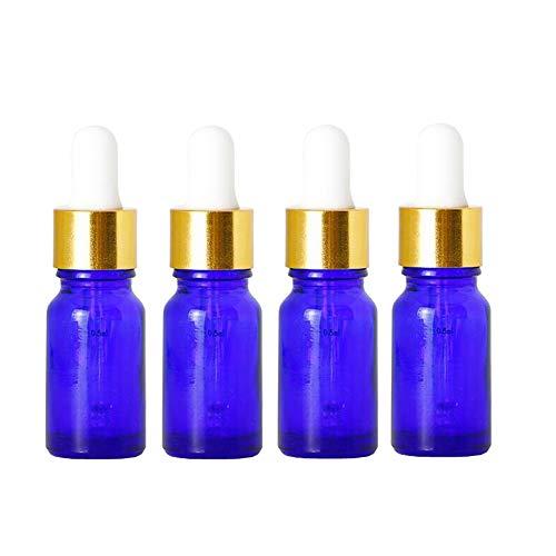 4pcs 10 ml 0,3 oz vide bouteille de compte-gouttes en verre bleu rechargeable avec tête en caoutchouc blanc et pipette huile essentielle parfum aromathérapie pot pot support cosmétique