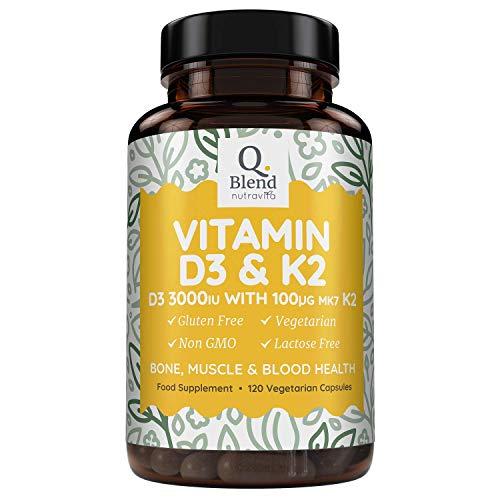 Vitamine D3 Triple Puissance 3000UI &Vitamine K2 MK7-120Capsules Végétariennes - Santé des Os et des Muscles - Vitamine D Haute Absorption du Cholécalciférol. Fabriqué au Royaume Uni Nutravita