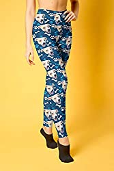 Navy leggings with dog faces printed in a repeat pattern, photo