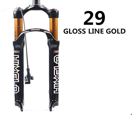 Bicycle Air Fork 26 27.5 29 Er MTB Mountain Suspension Fork Air Resilience Oil Damping Line Lock for Over Sr (Color : 29 Gloss line)