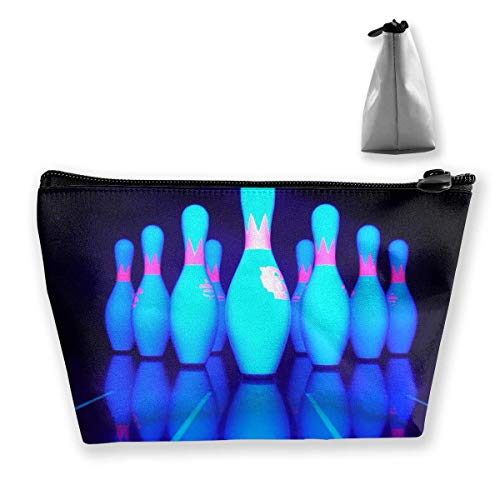 Trousse de maquillage trapézoïdale avec imprimé bowling bleu