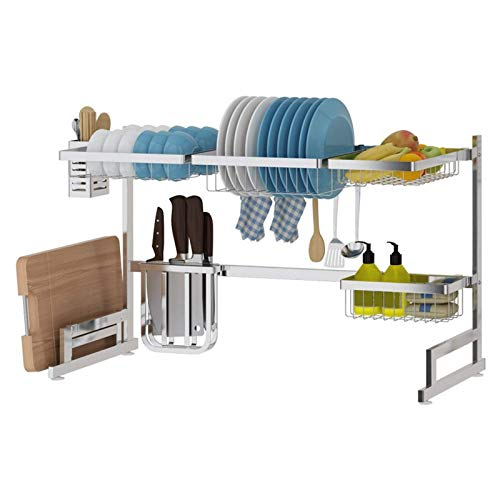 Over Sink Dish Drying Rack 2-Layer Large Dish Rack,for Kitchen Storage Racks Tableware Drain Rack Sink Organize Stand Shelf
