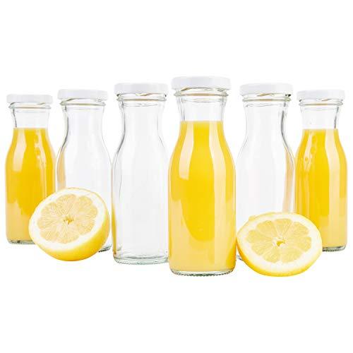 MamboCat 6er Set Saftflaschen 150ml + Twist-Off Deckel TO43 weiß I Leere Flaschen zum Befüllen I Weithalsflasche zum Einkochen I Einmachflaschen Milchflaschen I Runde Glasflaschen luftdicht