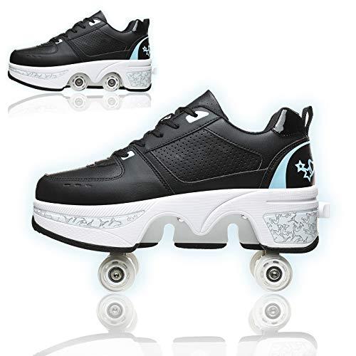 Double-Row Deform Wheel Deformation Roller Skates Adjustable Automatic Walking Shoes Quad Roller Skates Detachable Pulley Skate