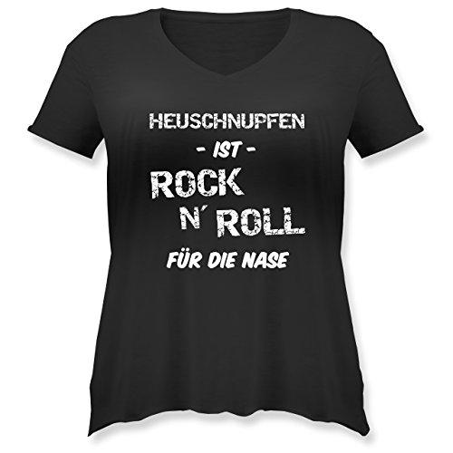 Sprüche - Heuschnupfen ist Rock n\' Roll für die Nase - XL (50/52) - Schwarz - JHK603_Damen_Shirt_groß_Vneck - JHK603 - Weit geschnittenes Damen Shirt in großen Größen mit V-Ausschnitt