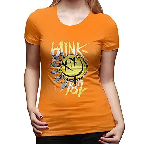 Blink 182 T Shirt Orange XXL Women T-Shirt aus Baumwolle für Damen Kurzarm Womens Tshirt Rundhalsausschnitt