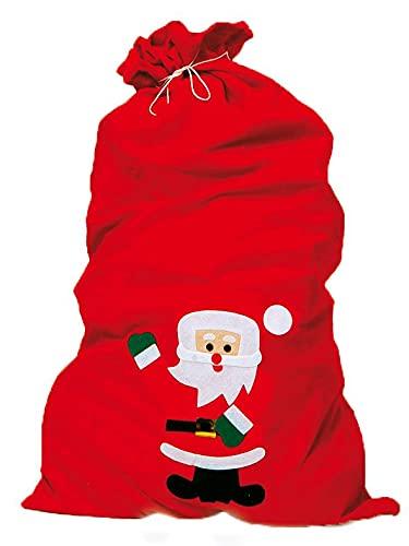 Idena 8580196 - Weihnachtsmann-Sack mit Motiv, rot, 90 x 60 cm, Filz, Geschenk