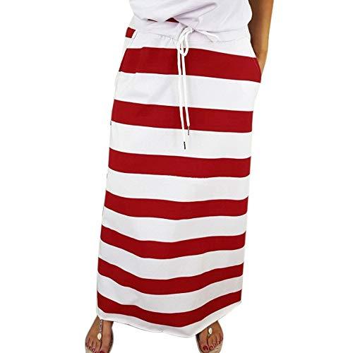 LoveLeiter Damenmode Gestreifter Maxi-Rock mit hoher Taille Frau Bund Band Maxi Rock mit Streifenmuster Gestreiftes Damenmode Kleid