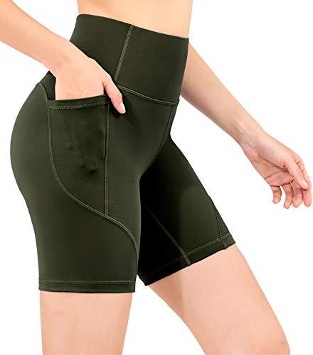 OVRUNS Damen Kurz High Waist Sporthose Kurze Hose Leggings Yoga Laufhose Shorts mit Eingrifftasche - Dunkle Olive M